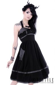 Restyle Black Gothic Bat Halter Neck Dress