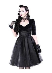 Restyle Black Velvet Gothic Prom Dress