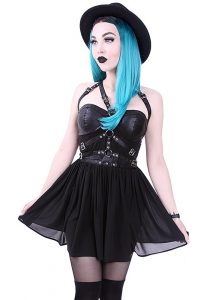 Restyle Studded Faux Leather Harness Chiffon Mini Dress