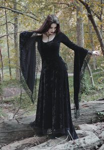 Sorrena Long Black Velvet Gothic Dress