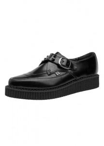 TUK Shoes Leather Spiked Monk Buckle Pointed Psychobilly Creepers