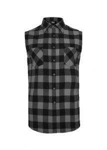 Urban Classics Black Charcoal Sleeveless Checked Flannel Shirt