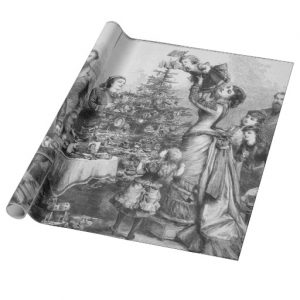 Victorian Christmas Tree Star Wrapping Paper