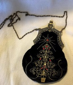 Victorian Style Black Velvet Christmas Tree Purse