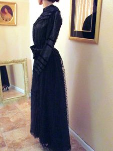 Antique Victorian Black Mourning Dress 1890s Vintage
