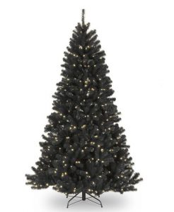 Black Gothic Christmas Tree 7.5 Ft with Clear/White Lights