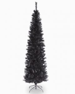 Black Tinsel Artificial Christmas Tree 6 Ft with Metal Stand