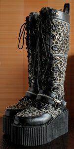 Demonia Creepers Leopard Print 90's Platform Goth Boots