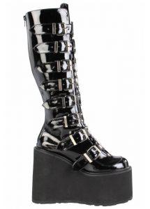 Demonia Swing 815 Patent Goth Platform Boots