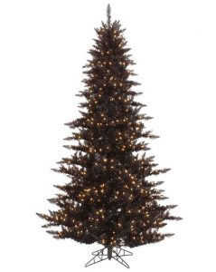 Gothic Black Artificial Fir Christmas Tree 7.5 Ft with Lights