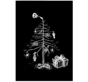 gothic black white christmas tree greetings card
