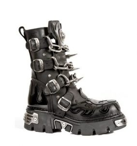 New Rock M.727-S1 Patent Leather Skull Boots