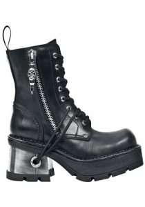 New Rock M8 Black Leather Ankle Boots