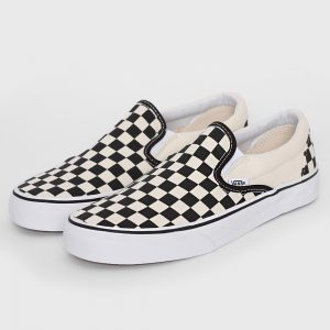 Vans Unisex Black & White Checkerboard Slip On Shoes