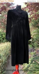 Vintage 1980s Laura Ashley Black Velvet Dress