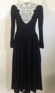 Vintage 1980s Long Gothic Black Dress