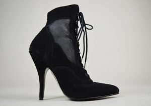 Vintage 1990s Black Faux Suede Winklepicker Ankle Boots