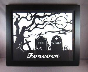 Gothic Cemetery Custom Valentine Silhouette Paper Cut Art