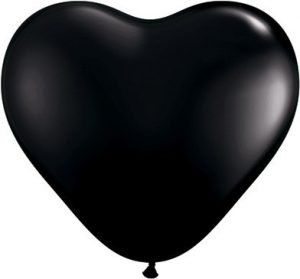 "Onyx Black 6"" Latex Hearts Qualatex Balloons x 10"