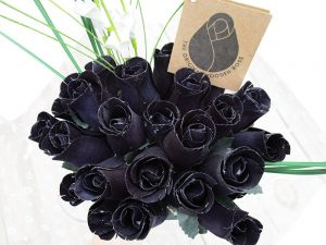 The Original Wooden Rose All Black Gothic Flower Bouquet Closed bud (2 Dozen)