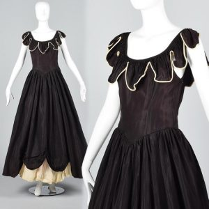 1930s Black Ivory Taffeta Vintage Ruffle Princess Prom Dress