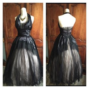 Black White Satin Tulle 1950s Vintage Halterneck Prom Dress