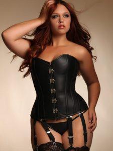 Angelina Black Leather Steel Boned Corset - Plus Size