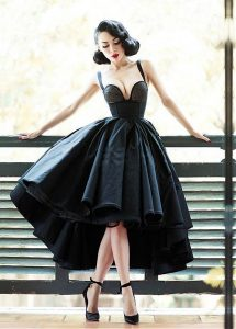 Black 1940s 1950s Retro Alternative Emo Prom Dress