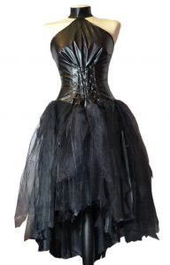 Black Faux Leather Chiffon Gothic Emo Wedding Dress