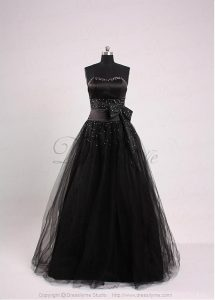 Black Strapless Floor Length Tulle Gothic Emo Prom Dress