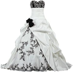 Black White Flowers Embroidery Satin Emo Wedding Dress