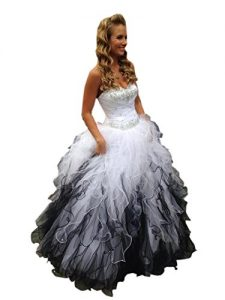 Black and White Ruffles Emo Wedding Dress
