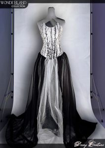 Black White Satin Corset Gothic Emo Prom Dress