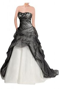 Black White Satin Tulle Emo Wedding Gown Dress