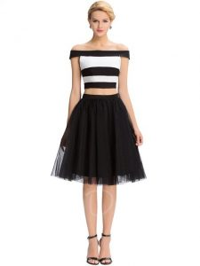 Black White Stripe Two Piece Emo Prom Dress