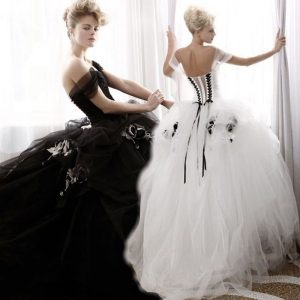 Black and White Tulle Ruffle Gothic Emo Wedding Dress