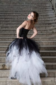 Black and White Leather Tulle Emo Wedding Dress