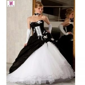 Black and White Organza Emo Wedding Dress
