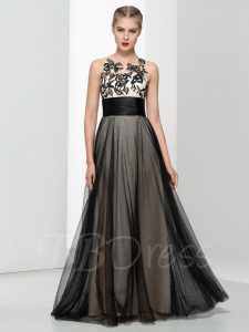 Black and White Roses Tattoo Effect Emo Prom Dress
