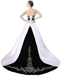 Black and White Satin Embroidered Emo Wedding Dress