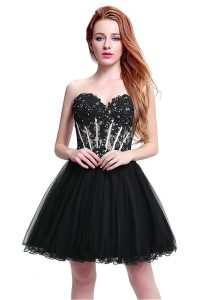 Black and White Short Strapless Tulle Lace Emo Prom Dress