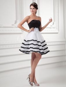 Black and White Striped Strapless Emo Prom Dress