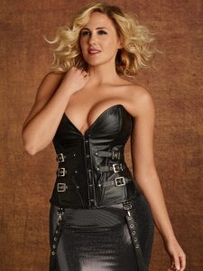 Callista Black Leather Steel Boned Buckle Corset - Plus Size