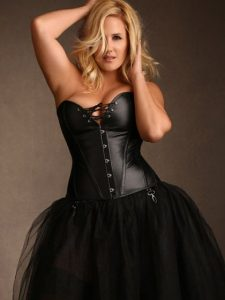 Jules Black Leather Steel Boned Lace Up Corset - Plus Size