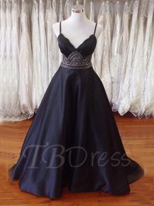 Long Black Matte Satin Gothic Emo Prom Dress