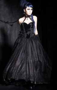 Long Black Taffeta Velvet Gothic Emo Prom Dress