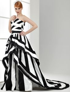 Long Black and White Striped Satin Emo Prom Dress