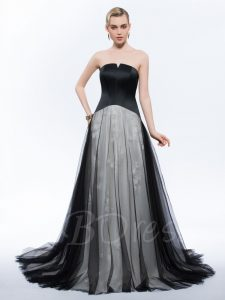 Long Strapless Black and White Tulle Emo Prom Dress