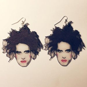 Robert Smith The Cure Hand Drawn Shrink Plastic Earrings