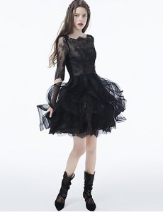Short Black Lace Tulle Ruffles Emo Prom Dress